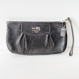Coach Madison large black leather clutch